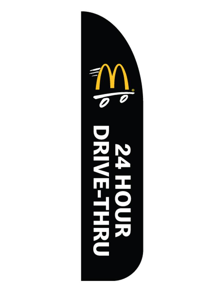 "McDonald's 3'x13' Feather Dancer Flag ""24 Hour Drive Thru"" Black"