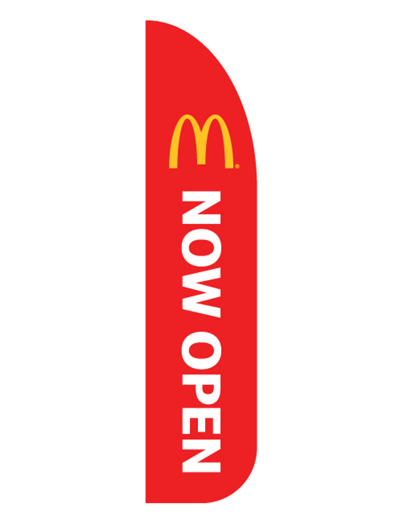 """McDonald's 3'x13' Feather Dancer Flag """"Now Open"""" Red"""