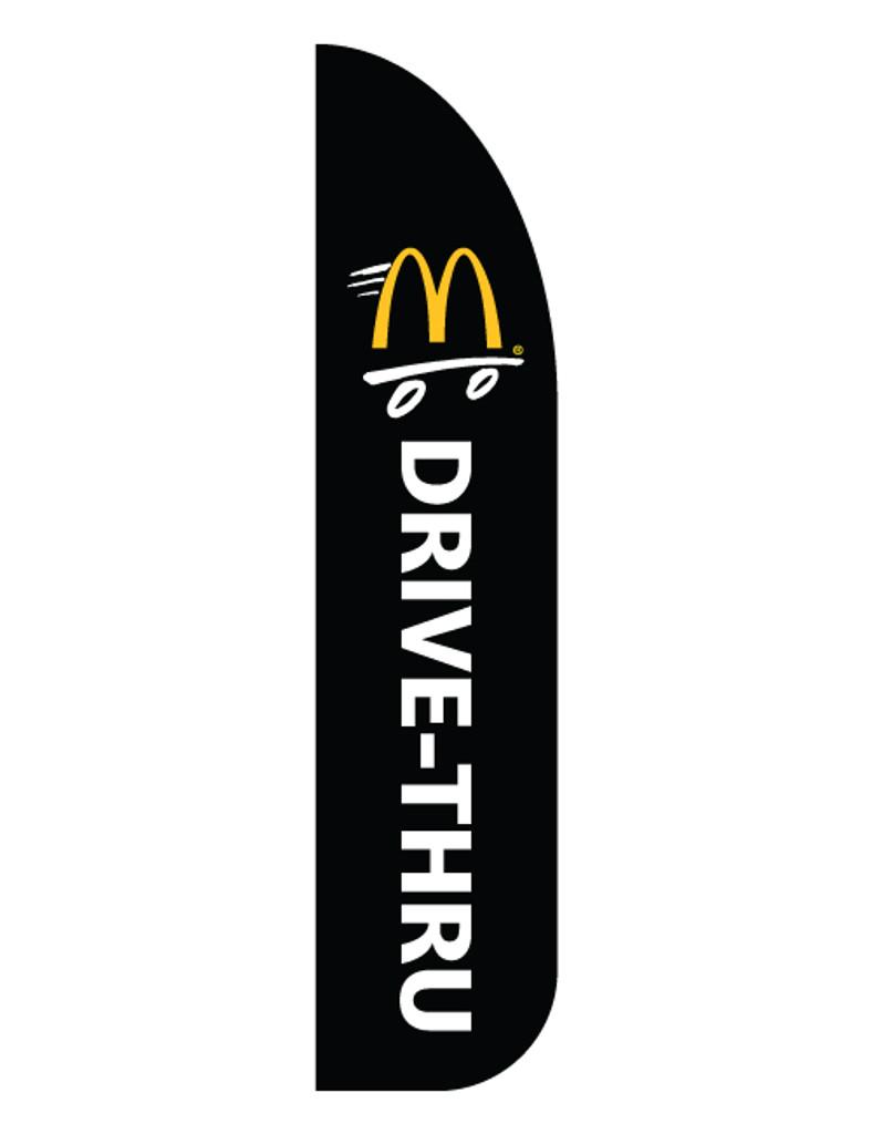 "McDonald's 3'x13' Feather Dancer Flag ""Drive Thru"" Black"