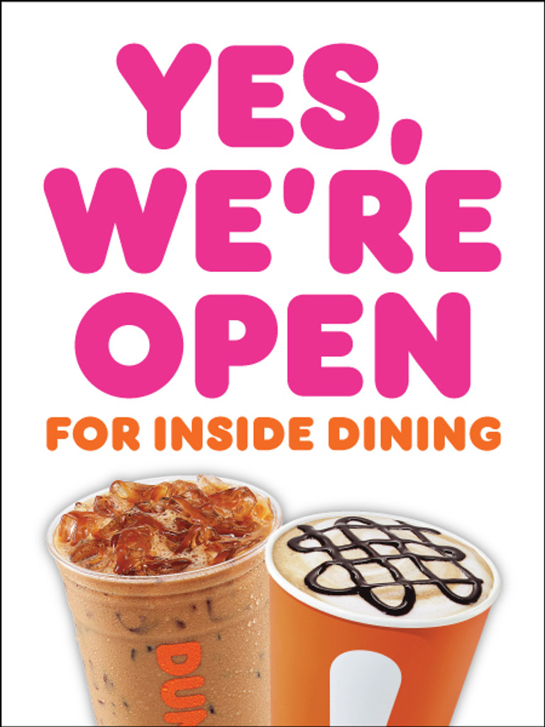 """Dunkin' 3'x4' """"We're Open"""" Poster"""