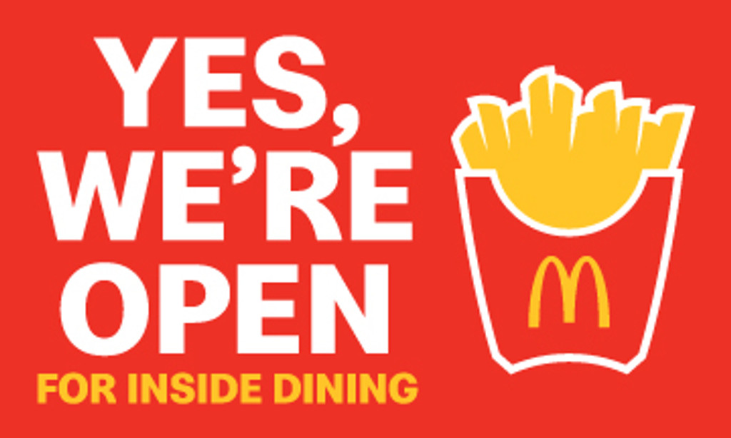 "McDonald's 3'x5' ""We're Open"" Banner"