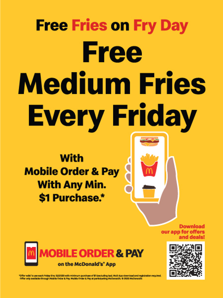 "McDonald's 3'x4' ""Free Fries""Poster"