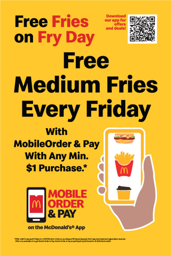 """McDonald's 2'x3' """"Free Fries"""" A-Frame Inserts (Pair)"""