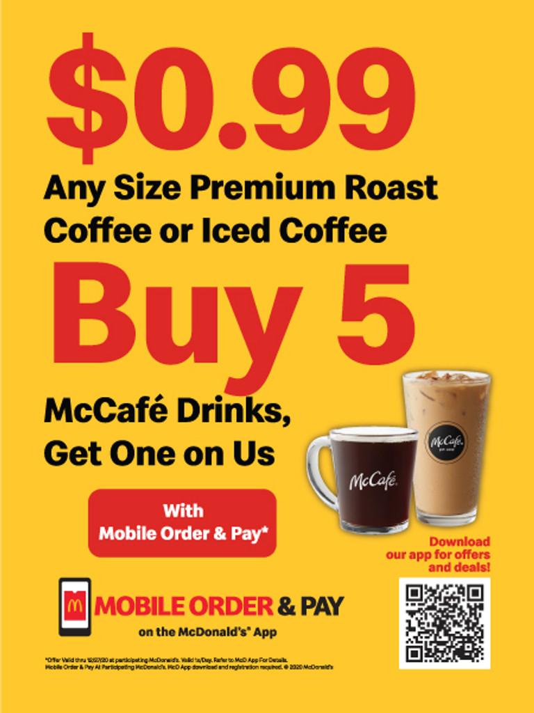 "McDonald's 3'x4' ""$0.99 Coffee"" Poster"