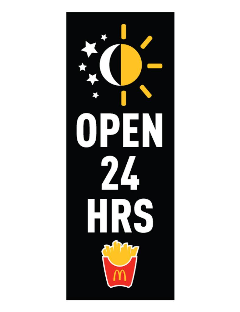 """McDonald's 3'x8' Lamppost Banner """"Open 24 Hrs"""" Black"""