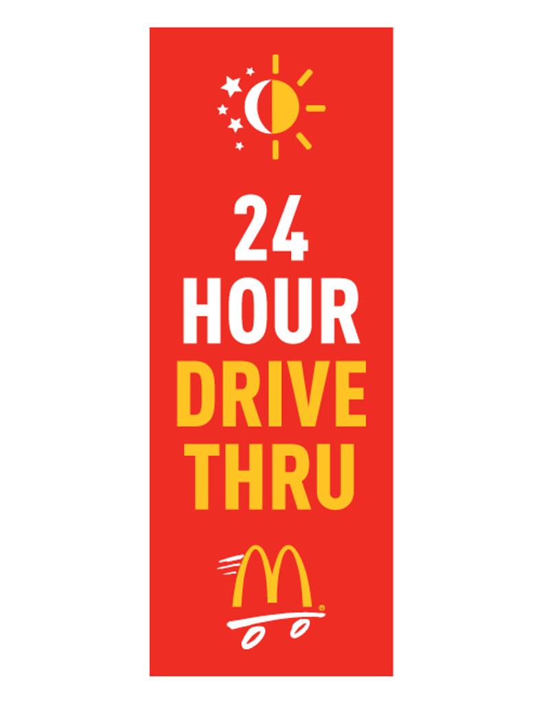 "McDonald's 3'x8' Lamppost Banner ""24 Hour Drive Thru"" Red"