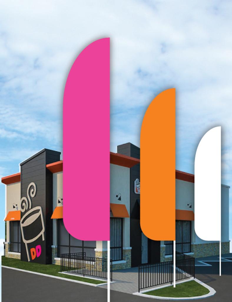 "Dunkin' 3'x13' Feather Dancer Flag ""24 Hour Drive-Thru"" Pink"