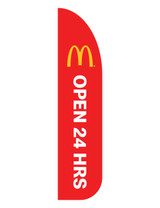 "McDonald's 3'x13' Feather Dancer Flag ""Open 24 Hrs"" Red"
