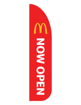"McDonald's 3'x13' Feather Dancer Flag ""Now Open"" Red"