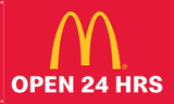 """McDonald's Flag """"Open 24 Hrs"""" Red"""