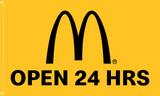"McDonald's Flag ""Open 24 Hrs"" Yellow"
