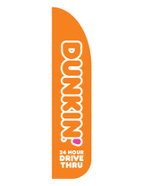 "Dunkin' 3'x13' Feather Dancer Flag Logo ""24 Hour Drive Thru"" Orange"