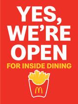 """McDonald's 3'x4' """"We're Open""""Poster"""