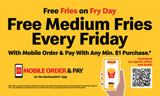 "McDonald's 3'x5' ""Free Fries"" Banner"