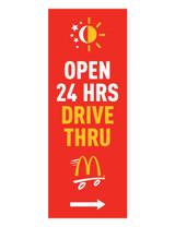 """McDonald's 3'x8' Lamppost Banner """"Open 24 Hrs Drive Thru"""" Red (Arrow)"""