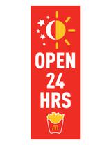 "McDonald's 3'x8' Lamppost Banner ""Open 24 Hrs"" Red"