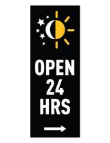 "McDonald's 3'x8' Lamppost Banner ""Open 24 Hrs"" Black (Arrow)"