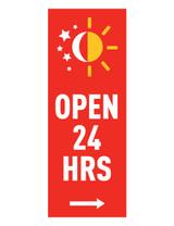 """McDonald's 3'x8' Lamppost Banner """"Open 24 Hrs"""" Red (Arrow)"""