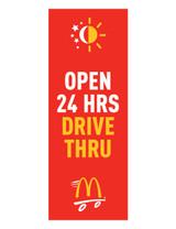 """McDonald's 3'x8' Lamppost Banner """"Open 24 Hrs Drive Thru"""" Red"""