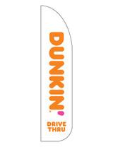 "Dunkin' 3'x13' Feather Dancer Flag Logo ""Drive-Thru"" White"