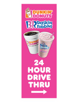 "DD & BR 3'x8' Lamppost Banner ""24 Hour Drive Thru"" Arrow"