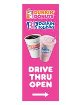 """DD & BR 3'x8' Lamppost Banner """"Drive Thru Open"""" Arrow"""