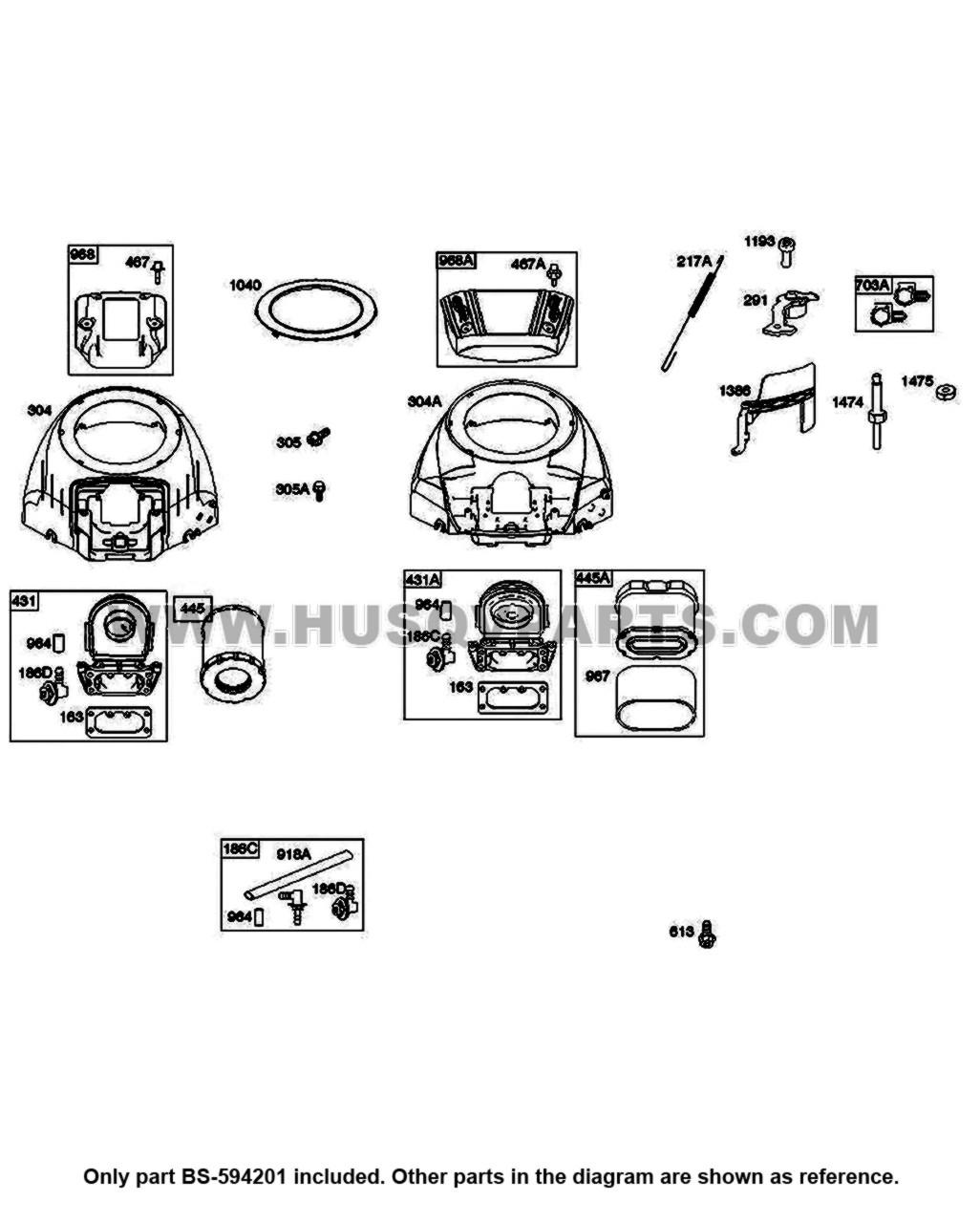 Parts Lookup Husqvarna Yth22V46 Air Filter BS 594201 Diagram