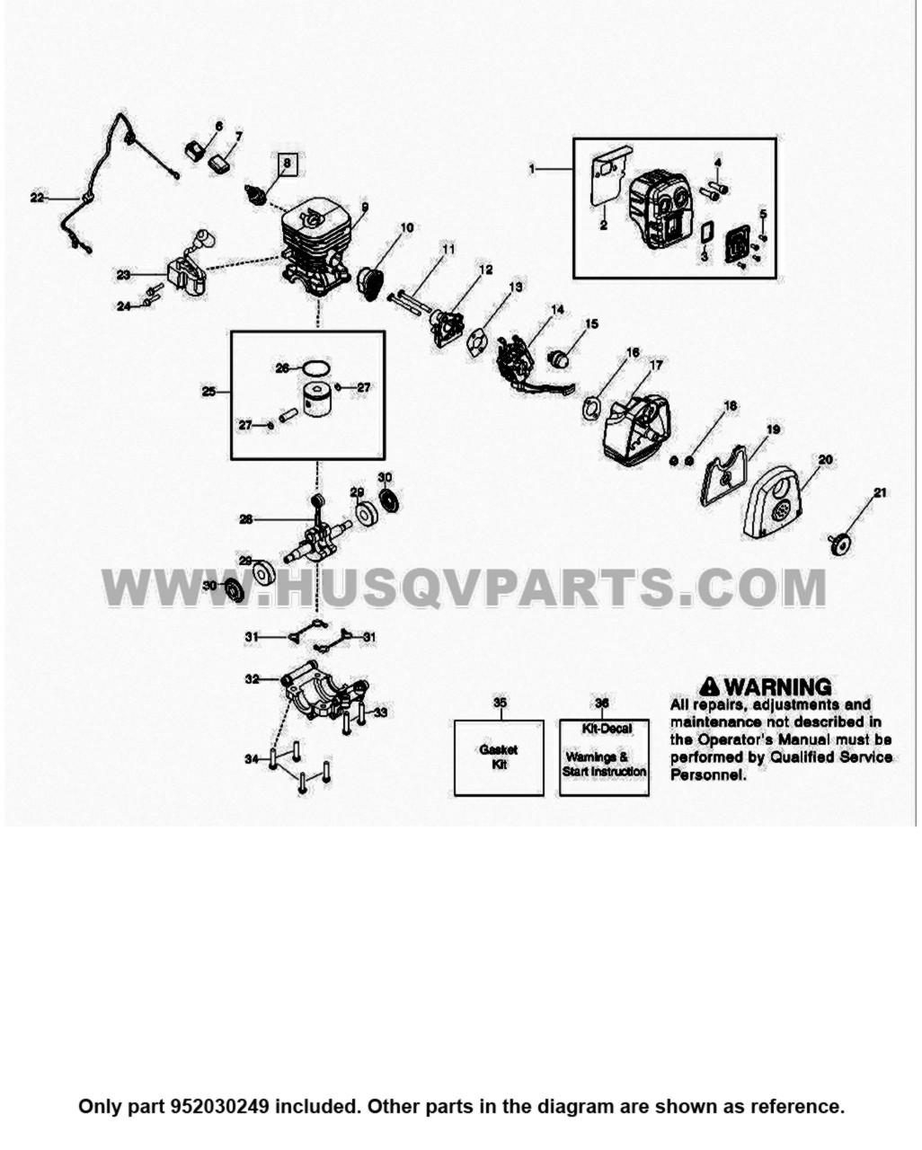 Parts lookup Husqvarna 125B Spark Plug 952030249 diagram