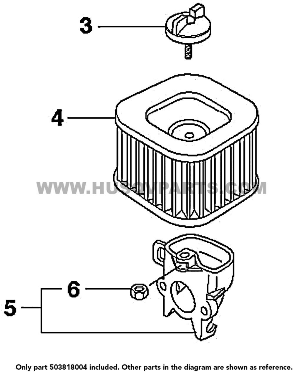 Parts lookup Husqvarna 372XP Air Filter 503818004 diagram