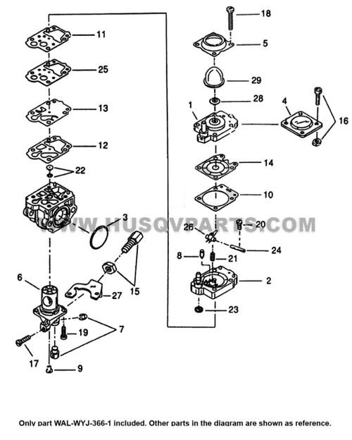 Parts lookup Husqvarna 125Bt Carburetor WAL-WYJ-366-1 diagram