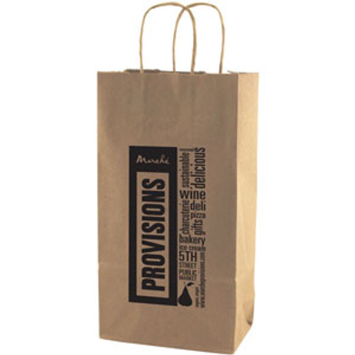 Natural Kraft Shopping Bag - 2 Bottle - 6.5 x 12.5