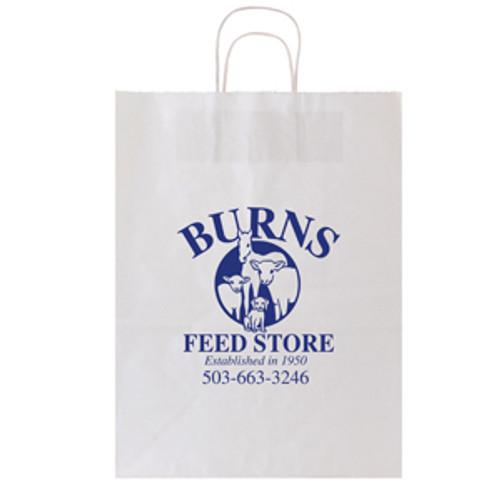 White Kraft Shopping Bag - 13 x 17
