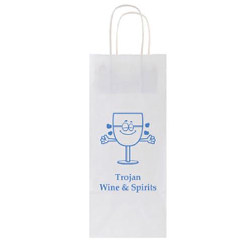 White Kraft Wine Shopping Bag - 1 Bottle - 5.5 x 12.5