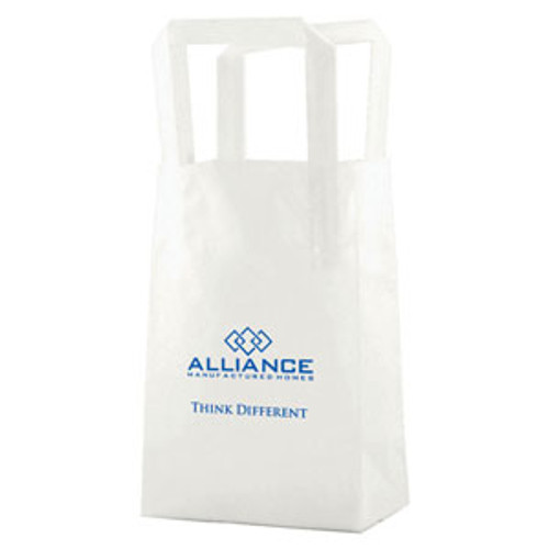 Clear Frosted Tri-Fold Handle Shopping Bags - 5 x 7.5