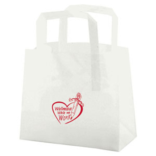Clear Frosted Tri-Fold Handle Shopping Bags - 8 x 7