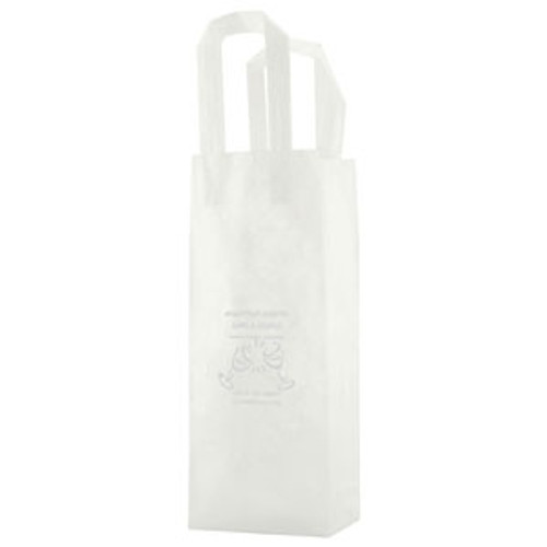 Clear Frosted Tri-Fold Handle Shopping Bags - 5.25 x 13