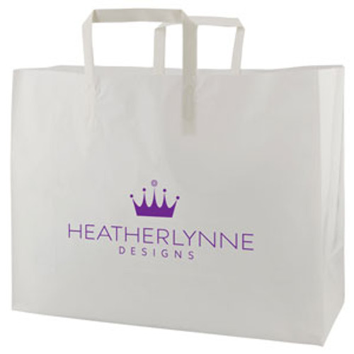 Clear Frosted Tri-Fold Handle Shopping Bags - 16 x 12