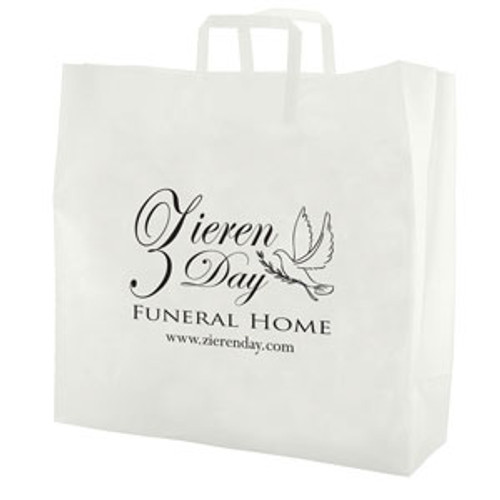 Clear Frosted Tri-Fold Handle Shopping Bags - 17 x 18