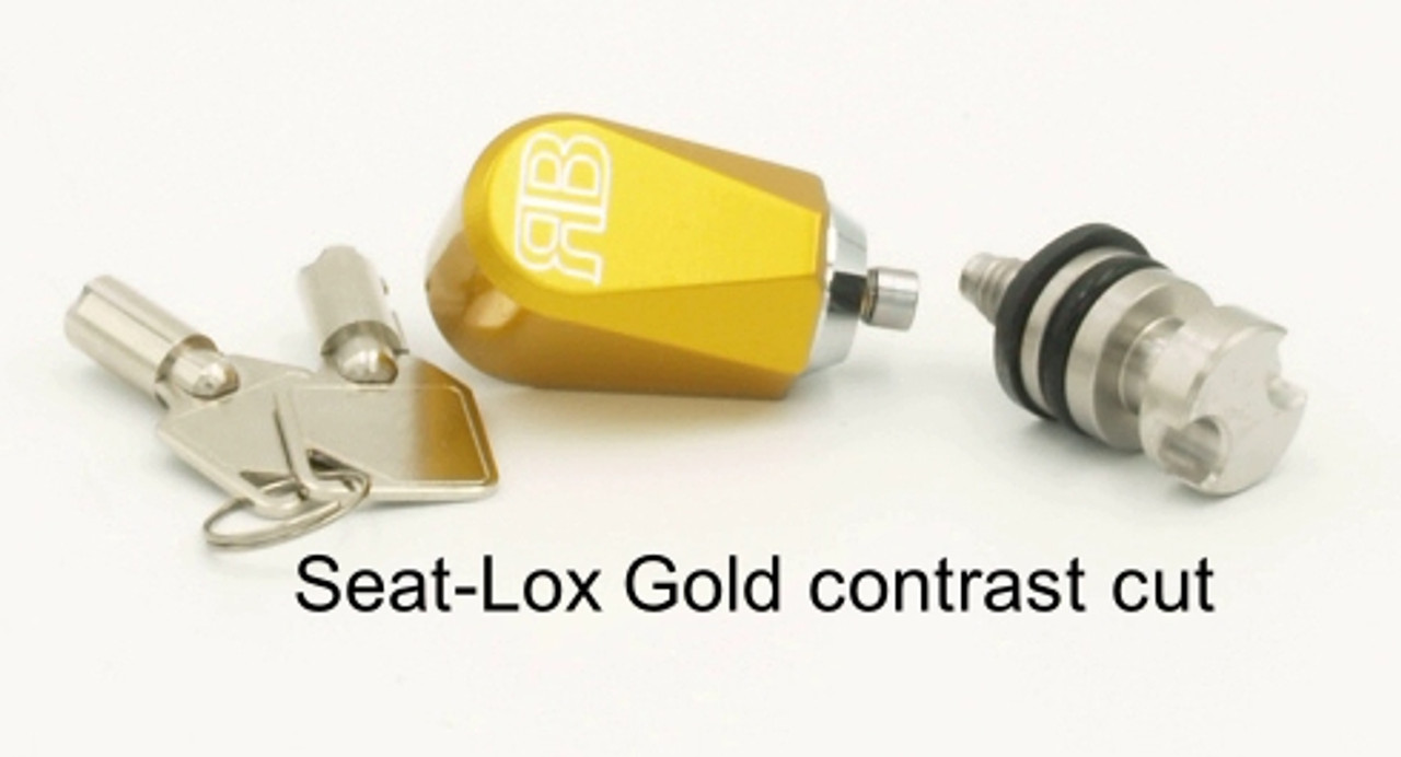Gold seat lock with contrast cut logo