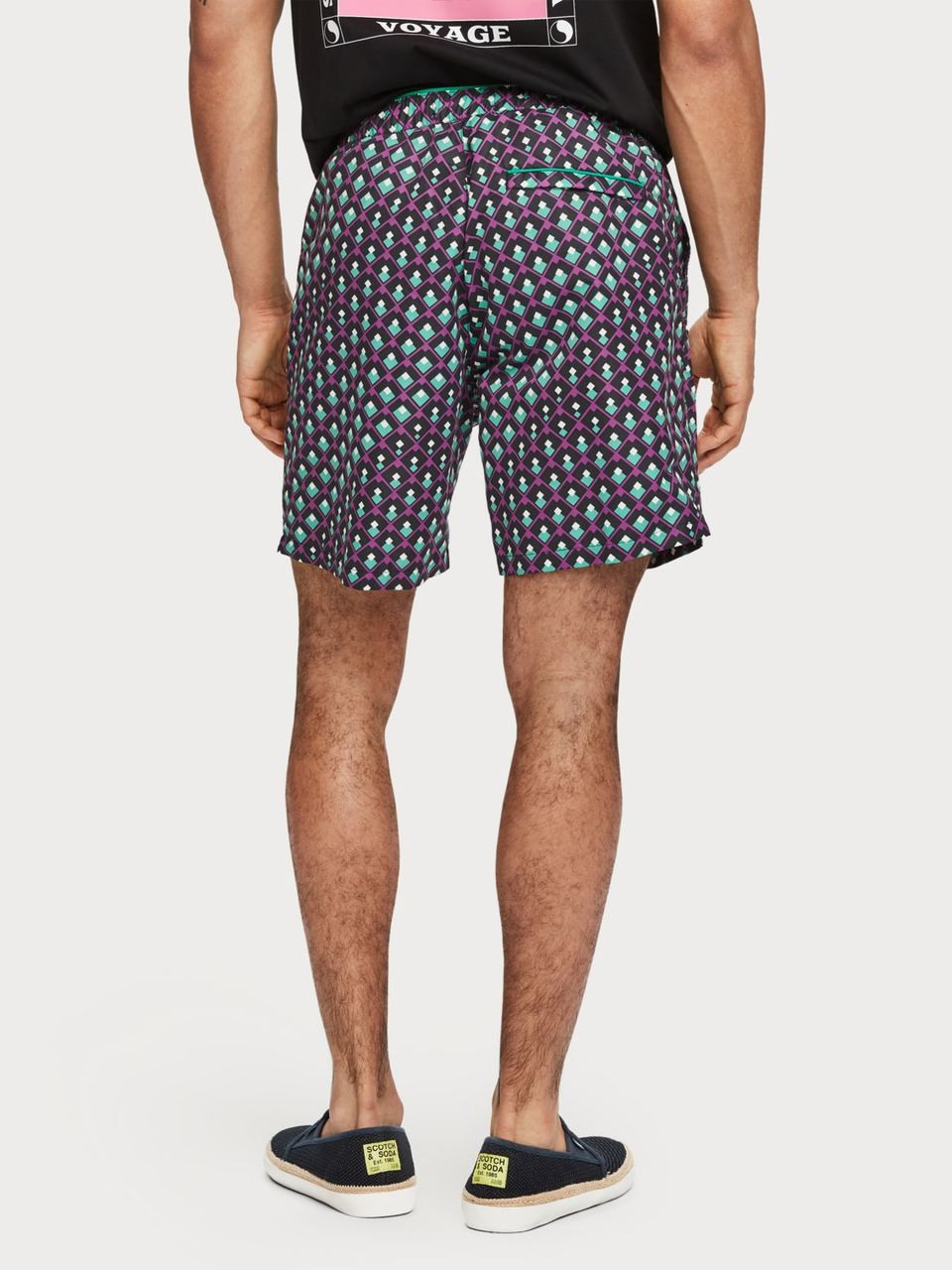 Scotch /& Soda Mens Medium Length Swim Short in Cotton//Nylon Quality with All-ov