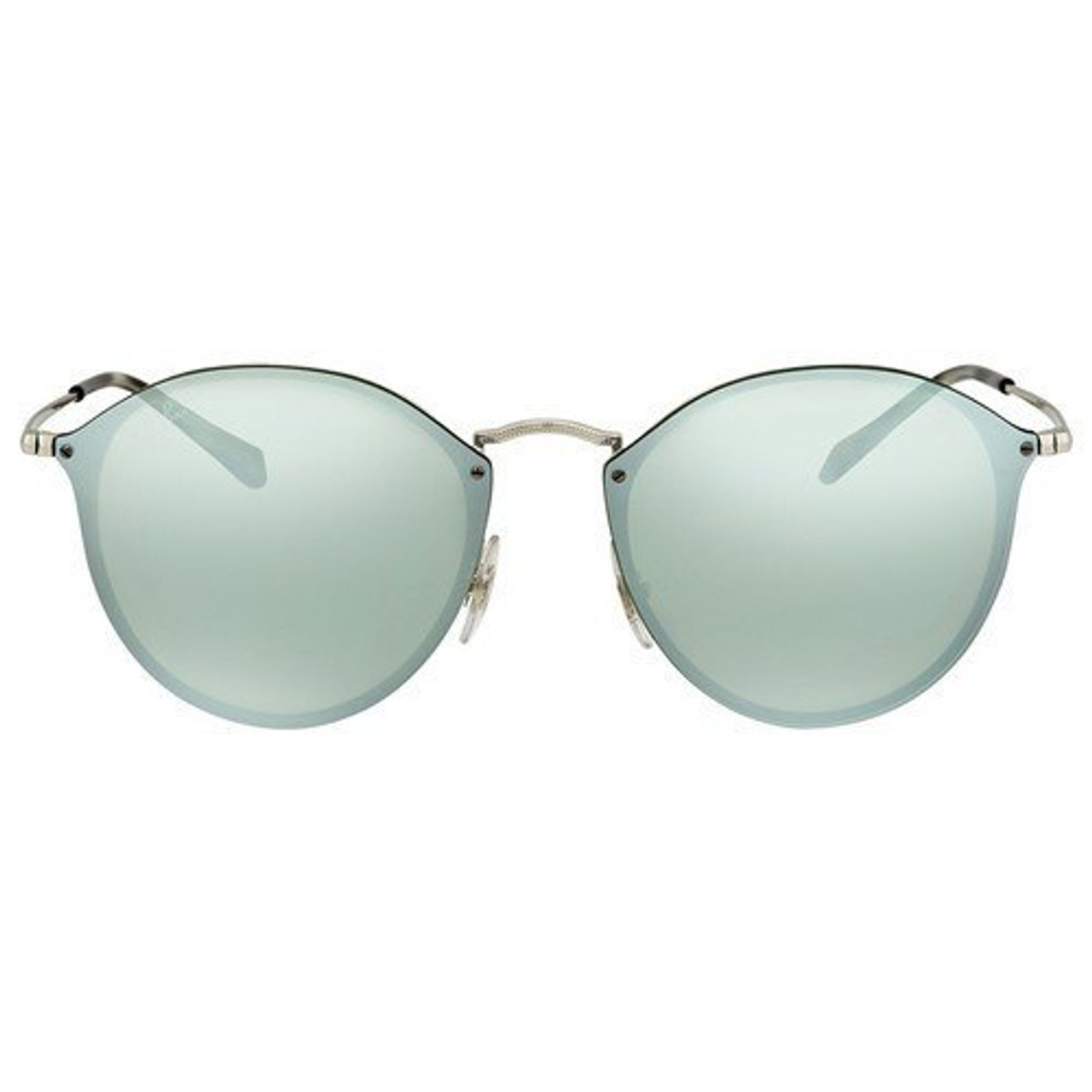 d9715b51d3e Ray-Ban Blaze Round Sunglasses In Silver Dark Green Mirror - CHROME