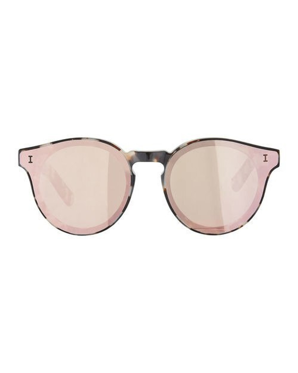 d04f5a69d3 Illesteva Two Point One Round Acetate Suglasses In White Tortoise Rose -  CHROME