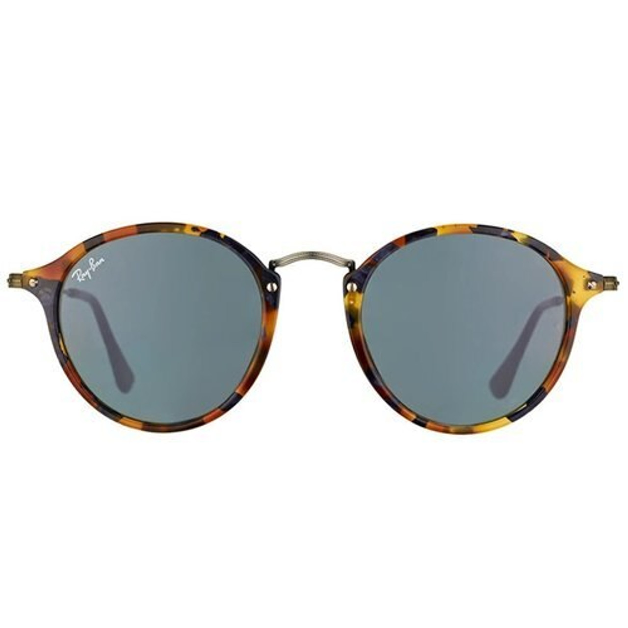 959cfd749 Ray-Ban Round RB2447 Fleck Classic Sunglasses In Spotted Blue Tortoise -  CHROME