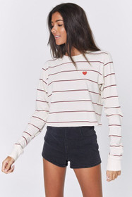 bc8fe20c2f728 Spiritual Gangster Heart Fiona Long Sleeve Tee In Tulip   Navy Stripe