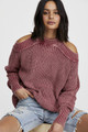 Free People Half Moon Bay Pullover Sweater In Wine