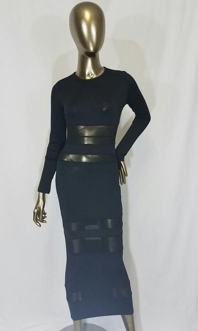 Mesh Panel Maxi Dress