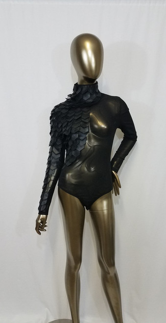 Sheer and Leatherette Bodysuit
