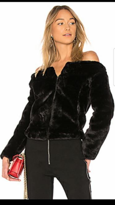 Furry Off Shoulder Bomber Jacket