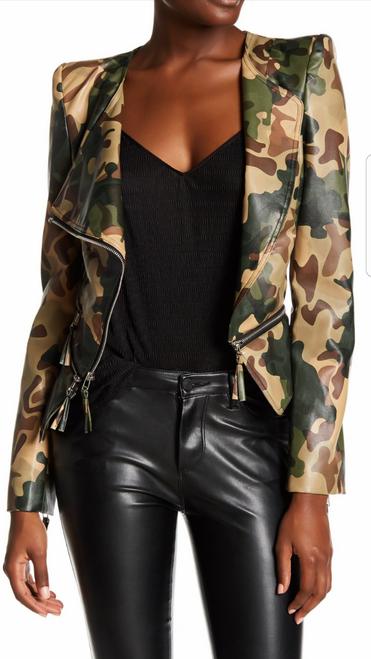 Faux Leather Camo Moto Jacket