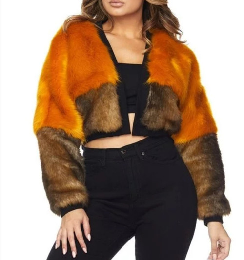COLOR BLOCK FAUX FUR CROPPED BOMBER